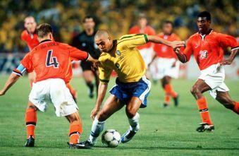 1998 World Cup Finals, Marseille, France, Semi-Final, 7th July, 1998, Brazil 1 v Holland 1, (Brazil won 4-2 on penalties), Brazil's Ronaldo takes on Holland's Frank De Boer and Aron Winter (20)